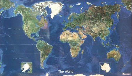 Világ satelit műholdas keretezett falitérkép Michelin 157x97 cm