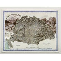 Magyarország hegyrajzi és vízrajzi térképe dombortérkép - fekete MH. 58 x 45 cm 1899 év
