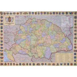 A Magyar Szent Korona Országainak Közigazgatása 1910. keretes falitérkép Nyír-Karta  70x50 cm
