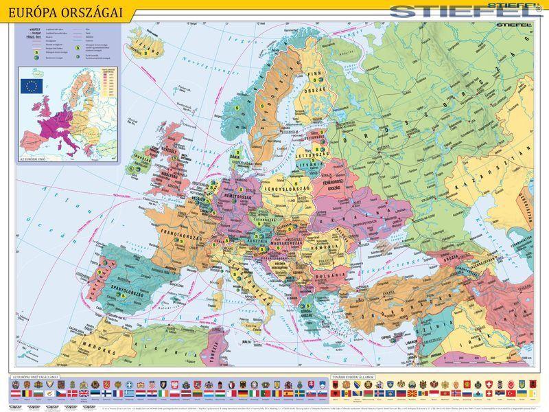 autós európa térkép Európa térkép falitérkép Stiefel 60x40 cm   Térkép Center Kft  autós európa térkép