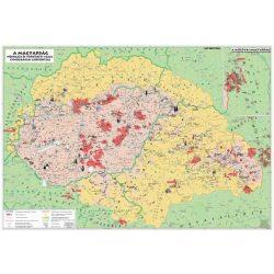 A magyarság néprajzi és történelmi tájai, etnográfiai csoportjai falitérkép, könyöklő Stiefel 65x45 cm