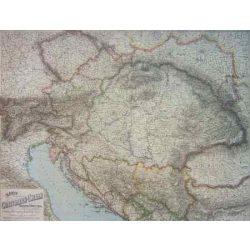 Az Osztrák-Magyar Monarchia fóliázott falitérkép Freytag 87 x 67 cm