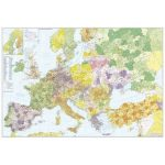 Európa + Törökország postai irányítószámos faléces fóliázott falitérkép Stiefel 140x100 cm