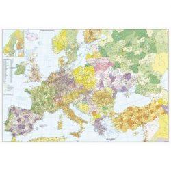 Európa + Törökország postai irányítószámos fémléces fóliázott falitérkép Stiefel 140x100 cm