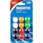 Táblamágnes, 12 db mágneses jelölő 15 mm-es vegyes színű műanyag gombok