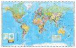 Világ országai fémléces falitérkép Stiefel 60x40 cm