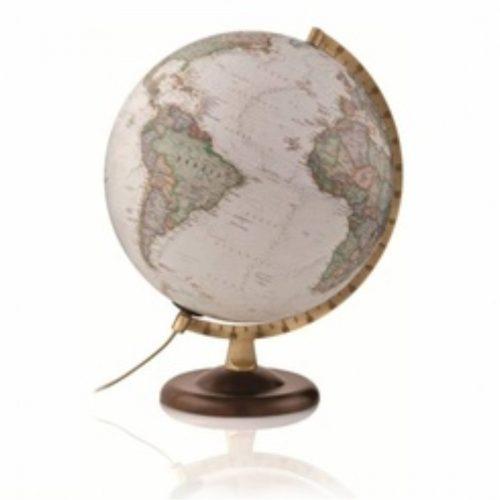 Világító földgömb, fatalpas antik színezésű National Geographic, 30 cm