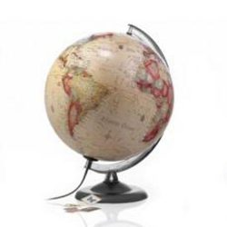 Világító földgömb antik színű 30 cm, Nova Rico világítós földgömb műanyag talppal, magyar nyelvű