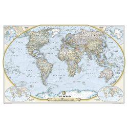 Világ országai falitérkép  politikai színezésű National Geographic 117x76 kétoldalas Föld országai falitérkép angol