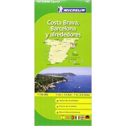 147. Costa Brava, Barcelona térkép Michelin 1:150 000