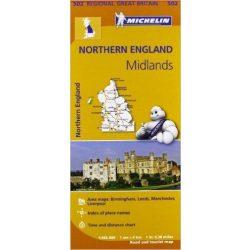502. Nothern England térkép, The Midlands térkép Michelin 1:400 000