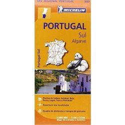 593. Dél-Portugália térkép Michelin 1:300 000 Algarve térkép 2017