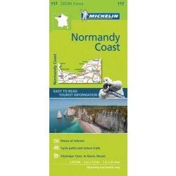 117. Normandia tengerpart térkép Michelin 1:150 000 Normandia térkép