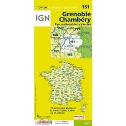 151. Grenoble turista térkép, Grenoble-Chambery térkép IGN  1:100 000  2015