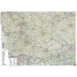 Dél-Németország térkép fémléces, műanyaghengerben, 1:500 000, (129 x 95 cm)  Freytag  AK 0207 B