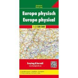 Európa térkép, Európa autótérkép domborzati, 1:3 500 000  Freytag térkép AK 2201