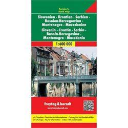 Szlovénia, Horvátország, Szerbia, Bosznia-Hercegovina, Montenegro, Macedonia térkép Freytag & Berndt 1:600 000