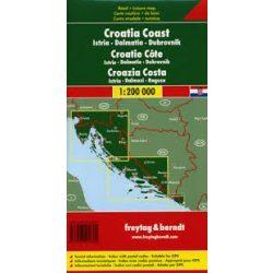 Horvát tengerpart, Isztria-Dalmácia-Dubrovnik, 1:200 000  Freytag térkép AK 7403