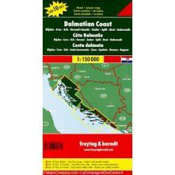 Dalmát tengerpart, Rijeka-Cres-Krk-Kornaten-Zadar-Split, Top 10, 1:150 000  Freytag térkép AK 7404