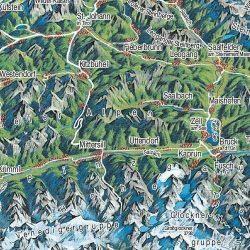 Ausztria panorámatérkép, műanyaghengerben, (119 x 88 cm) Freytag térkép AK 1PAN P