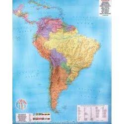 Dél-Amerika falitérkép politikai-domborzati , műanyaghengerben, 1:8 000 000  Freytag térkép SAM P