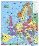 Európa gyerekeknek falitérkép, gyerektérkép német nyelvű  1:3 700 000, (94 x 114 cm)  Freytag