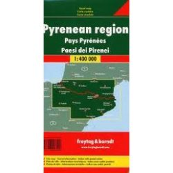 Pireneusok térkép, Pireneusok országai térkép 1:400 000  Freytag