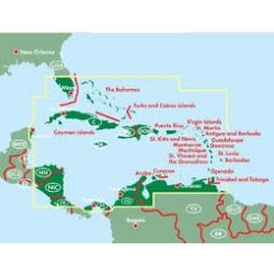 Karib-tenger hajóútvonalai, Karib térkép Antigua, Barbados, Dominikai Köztársaság, Grenada, 1:2 500 000  Freytag térkép AK 161