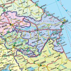 Európa-Közel-Kelet-Közép-Ázsia politikai óriás, műanyaghengerben, 1:4 200 000, Freytag térkép AK 2202 GF