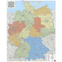 Németország falitérkép, Németország közigazgatása, műanyaghengerben, 1:700 000  96x128cm Freytag