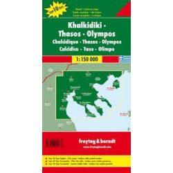 Chalkidiki-Thasos-Olympos, 1:150 000  Freytag térkép AK 0835