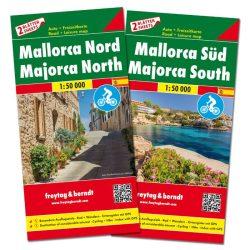 Mallorca térkép, Mallorca észak és dél Mallorca autós és kerékpáros térkép 1:50 000  Freytag 2016