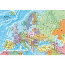 Európa falitérkép fémléces, fóliás Freytag 1:6 000 000   100x70 cm Európa országai