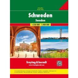 Svédország atlasz spirálkötésben, 1:250 000, 1:400 000  Freytag 2018