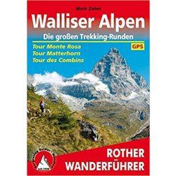 Walliser Alpen – Die großen Trekking-Runden túrakalauz Bergverlag Rother német   RO 4427
