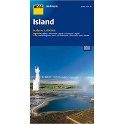 Iceland, Izland térkép ADAC  1:600 000