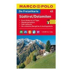 43. Südtirol térkép, Dolomitok turista térkép Marco Polo 1:120 000