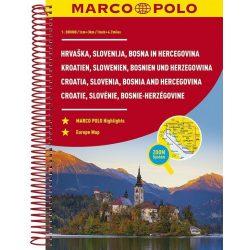 Horvátország atlasz, Szlovénia atlasz, Bosznia-Hercegovina atlasz Marco Polo 2018 1:300 000
