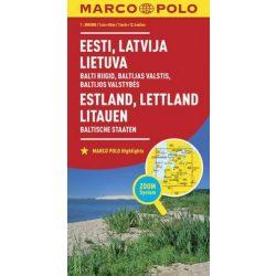 Észtország, Lettország, Litvánia térkép Marco Polo 1:800 000  2016