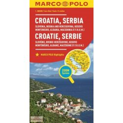 Szlovénia, Horvátország térkép Marco Polo, Bosznia-Hercegovina, Kosovo, Szerbia, Montenegro  1:800 000
