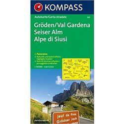 365. Gröden/Val Gardena, Seiser Alm/Alpe di Siusi, Panorama mit Straßenkarte, 1:150 000 panoráma térkép