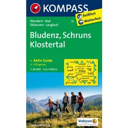 ausztria térkép bludenz 32. Bludenz, Schruns, Klostertal turista térkép Kompass   Térkép  ausztria térkép bludenz