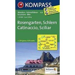 628. Rosengarten Catinaccio Latemar turista térkép Kompass 1:25 000