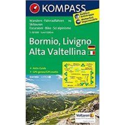 96. Bormio, Livigno, Valtellina, D/I turista térkép Kompass