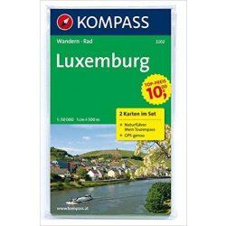2202. Luxemburg turista térkép Kompass, 2teiliges Set mit Naturführer, I/F