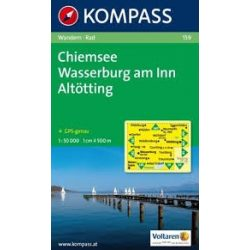 159. Chiemsee, Wasserburg am Inn, Altötting turista térkép Kompass
