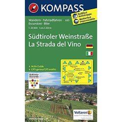 685. Südtiroler Weinstraße/La Strada del Vino, 1:25 000, D/I turista térkép Kompass