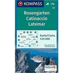 629. Rosengarten/Catinaccio, Latemar, 1:25 000 turista térkép Kompass