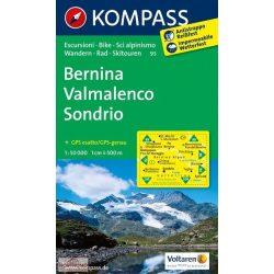 93. Bernina, Sondrio turista térkép Kompass 1:50 000