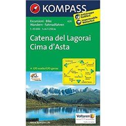 626. Catena dei Lagorai, Cima d'Asta, 1:25 000 turista térkép Kompass